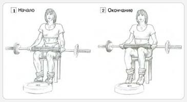 Разгибание голени сидя - вариант со штангой на коленях