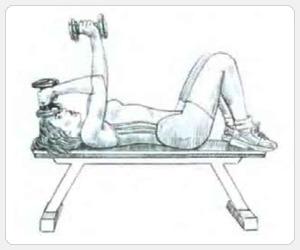 Выполнение упражнения разгибание рук с гантелями лежа