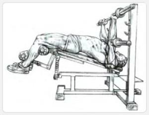 Жим штанги, лежа на скамье с уклоном - выполнение упражнения