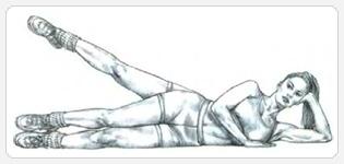 Махи ногой в сторону, лежа на боку - выполнение упражнения