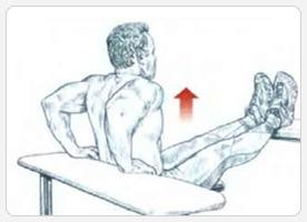 Отжимание трицепсами спиной к скамье - начало движения
