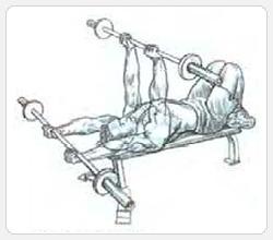 Тяга штанги лежа PULL-OVER - выполнение упражнения